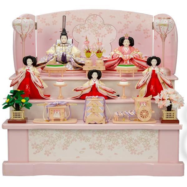 雛人形 収納三段飾り ひな人形 五人飾り 衣裳着 衣裳着人形 (ピンク舞桜) 桃の節句 ひな祭り お雛様 展示現品
