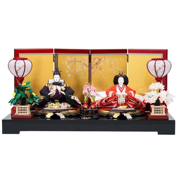 【内祝い】 親王飾り 平飾り 雛人形 ゴールド(48AKA-55) 衣裳着人形 ひな人形 衣裳着 ブラック ひな祭り-季節玩具