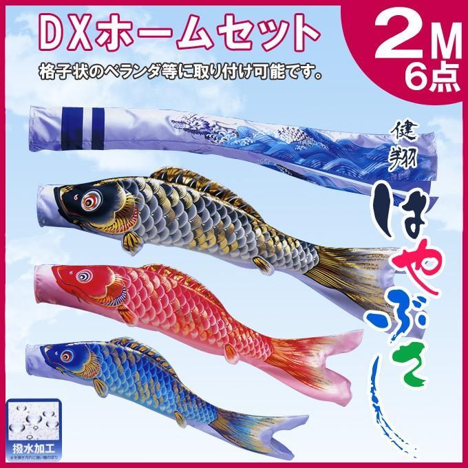 旭天竜鯉のぼり 鯉幟セット 健翔はやぶさ DXホームセット 2M 6点セット 本格地染め鯉のぼり 撥水加工 デラックスホームセット