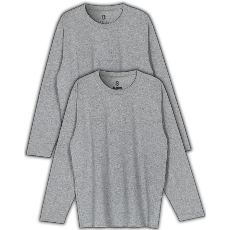 長袖tシャツ メンズ 無地 厚手 ロンt 大きいサイズ 2枚組 白 黒 灰 Ballot バロット ASTYSHOP 送料無料 キャッシュレス|nextfreedom|16