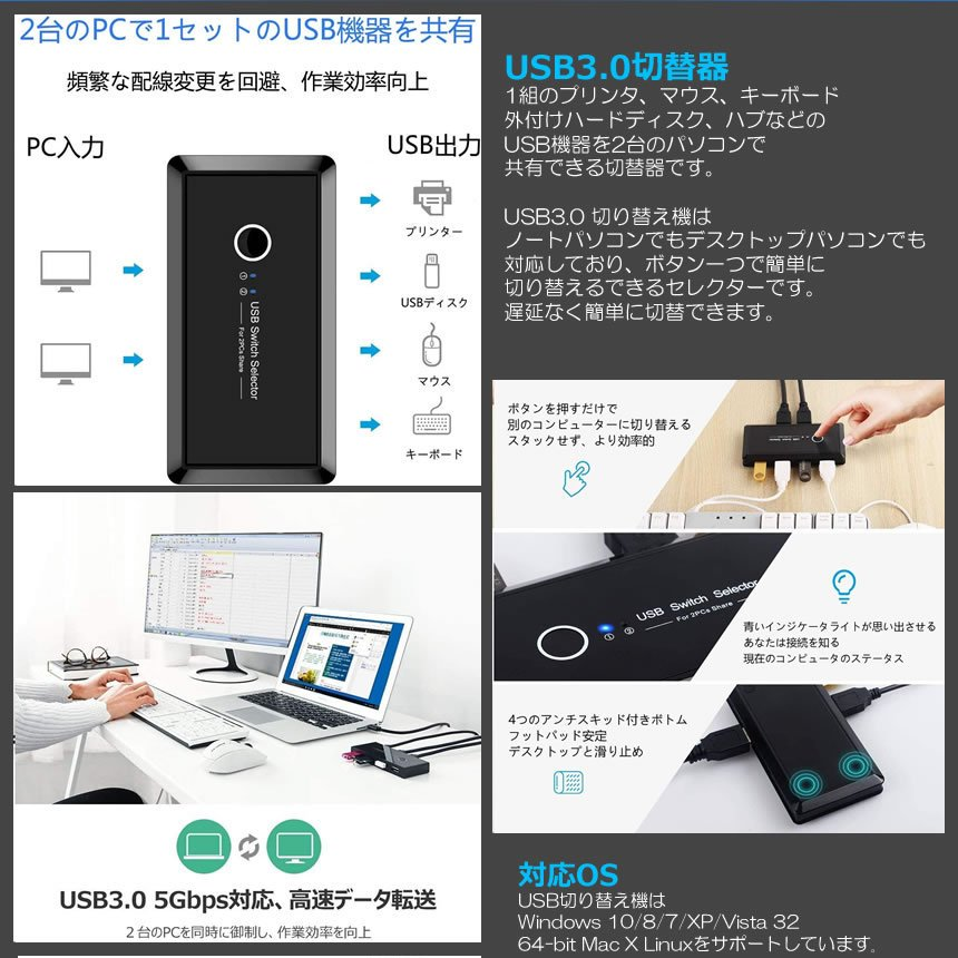 USB切替器 3.0対応 切替え機 プリンタ 外付けHDD キーボード マウス用 パソコン2台 USB機器4台 手動切替機 PCHENBRB|nexts|03