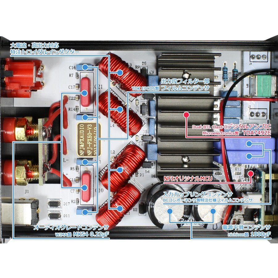 FX-AUDIO- FX-50 第2ロット[シルバー] TDA7492EデジタルアンプIC搭載 50WX2ch パワーアンプ nfj 03