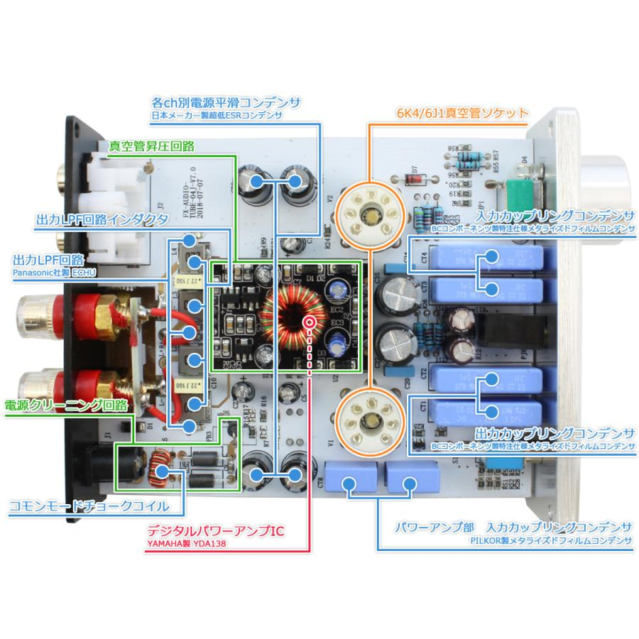FX-AUDIO- TUBE-04J[ブラック] 真空管ハイブリッドプリメインアンプ 真空管+デジタルアンプIC|nfj|03