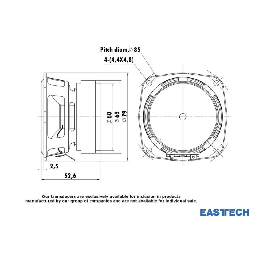 EASTECH FSB522030-3806 フルレンジスピーカーユニット3インチ(70mm) 8Ω/MAX40W [スピーカー自作/DIYオーディオ] nfj 05