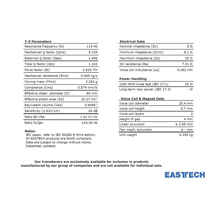 EASTECH FSB522030-3806 フルレンジスピーカーユニット3インチ(70mm) 8Ω/MAX40W [スピーカー自作/DIYオーディオ] nfj 07
