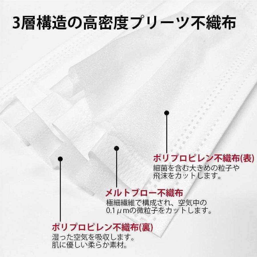 【送料無料】日本製 国産 マスク 白 White 不織布 個包装 50枚入 普通サイズ 男性 女性 大人 箱 サージカルマスク 使い捨て|ngreen|06