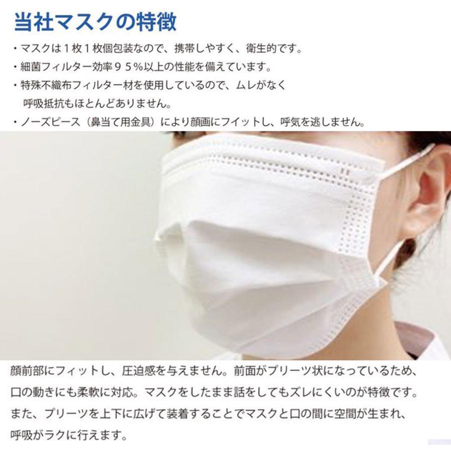 【送料無料】日本製 国産 マスク 白 White 不織布 個包装 50枚入 普通サイズ 男性 女性 大人 箱 サージカルマスク 使い捨て|ngreen|09