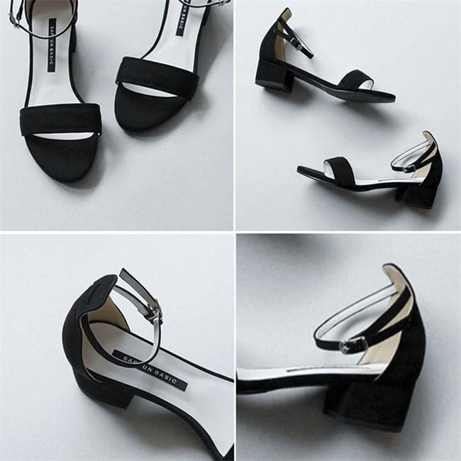 サンダル レディース ストラップサンダル オープントゥ 太ヒール シンプル 美脚 おしゃれ 歩きやすい スエード調 可愛い 5cm 7cm 全2色 大きいサイズ|ngytomato|11