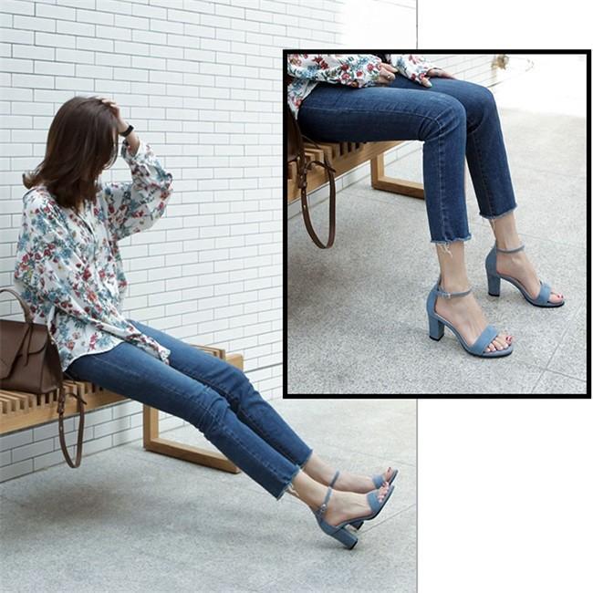 サンダル レディース ストラップサンダル オープントゥ 太ヒール シンプル 美脚 おしゃれ 歩きやすい スエード調 可愛い 5cm 7cm 全2色 大きいサイズ|ngytomato|05