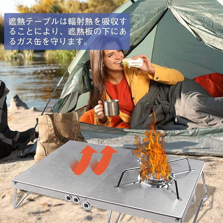 3580→2450 SOTO ST-310対応 シングルバーナー アルミテーブル 1台多役 軽量 折畳式 コンパクト 専用収納袋付き|nichieilifestore|07