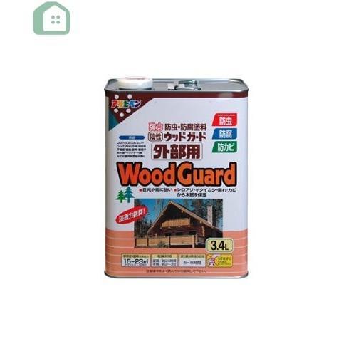 【4セット】アサヒペン 油性 ウッドガード外部用 マホガニー 塗料 3.4L