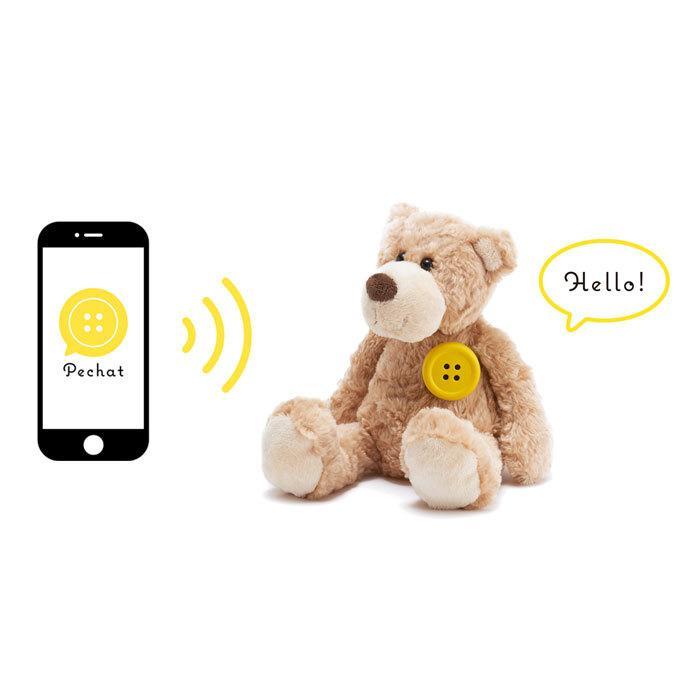 (ラッピング付) (ぬいぐるみセット) Pechat (ペチャット) ぬいぐるみをおしゃべりにするボタン型スピーカー + キイロイトリ ぬいぐるみ (M) MR75601|nico-marche|05