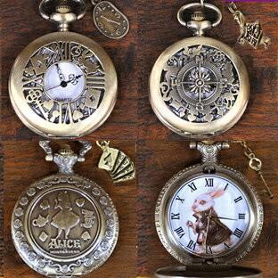 MBB801 不思議の国のアリス懐中時計ネックレス4種類 お楽しみアリスチャーム 期間限定特価品 巾着付き クオーツ式ペンダントウォッチアリスの懐中時計 安い