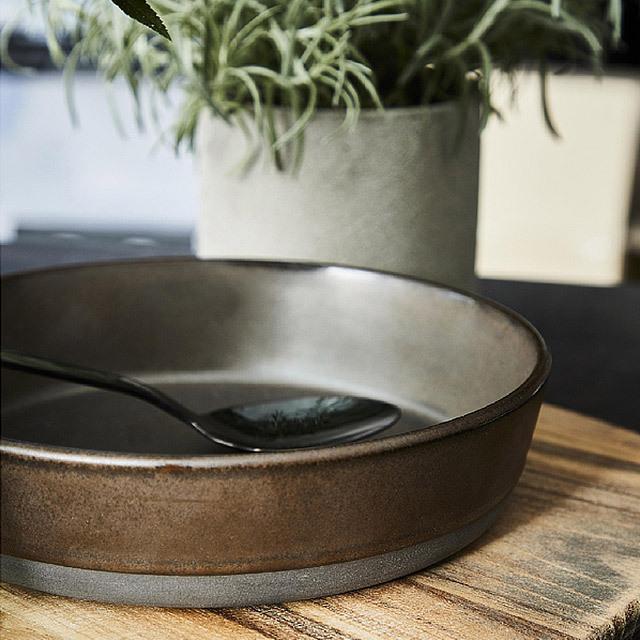 RAW/ロウ スーププレート 19cm メタリックブラウン ストーンウェア 北欧 食器 洋食器 和食器 大皿 深皿 カレー皿 カフェ おしゃれ niconomanimani 10