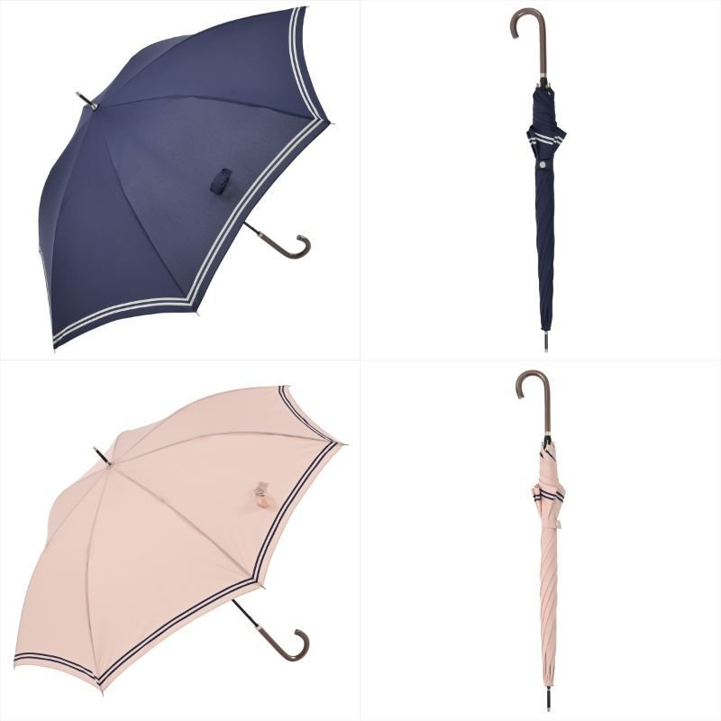 【公式】 レディース 婦人 雨傘 長傘 軽量 スマートジャンプ 60cm セーラーボーダー 1357 niftycolors ニフティカラーズ|niftycolors
