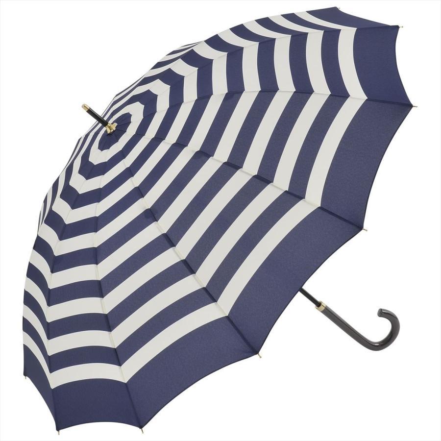 【公式】 レディース 婦人 雨傘 長傘 12本骨 マリンボーダー ネイビー グレー グリーン 1383 niftycolors ニフティカラーズ niftycolors 17