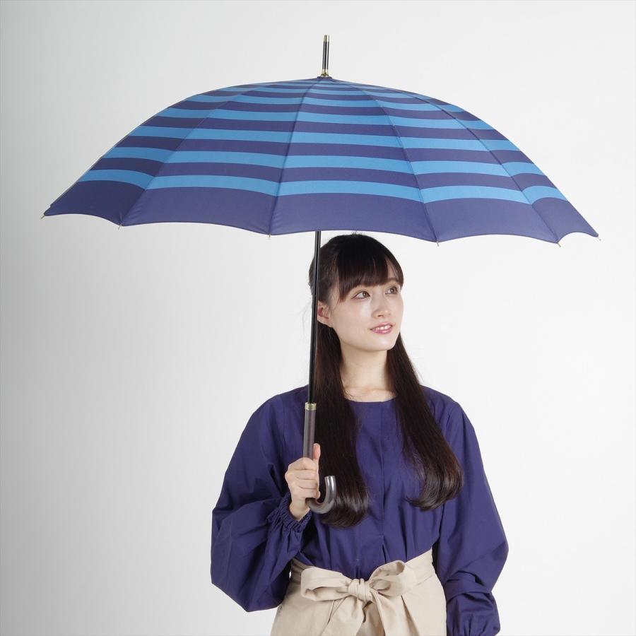 【公式】 レディース 婦人 雨傘 長傘 12本骨 マリンボーダー ネイビー グレー グリーン 1383 niftycolors ニフティカラーズ niftycolors 15