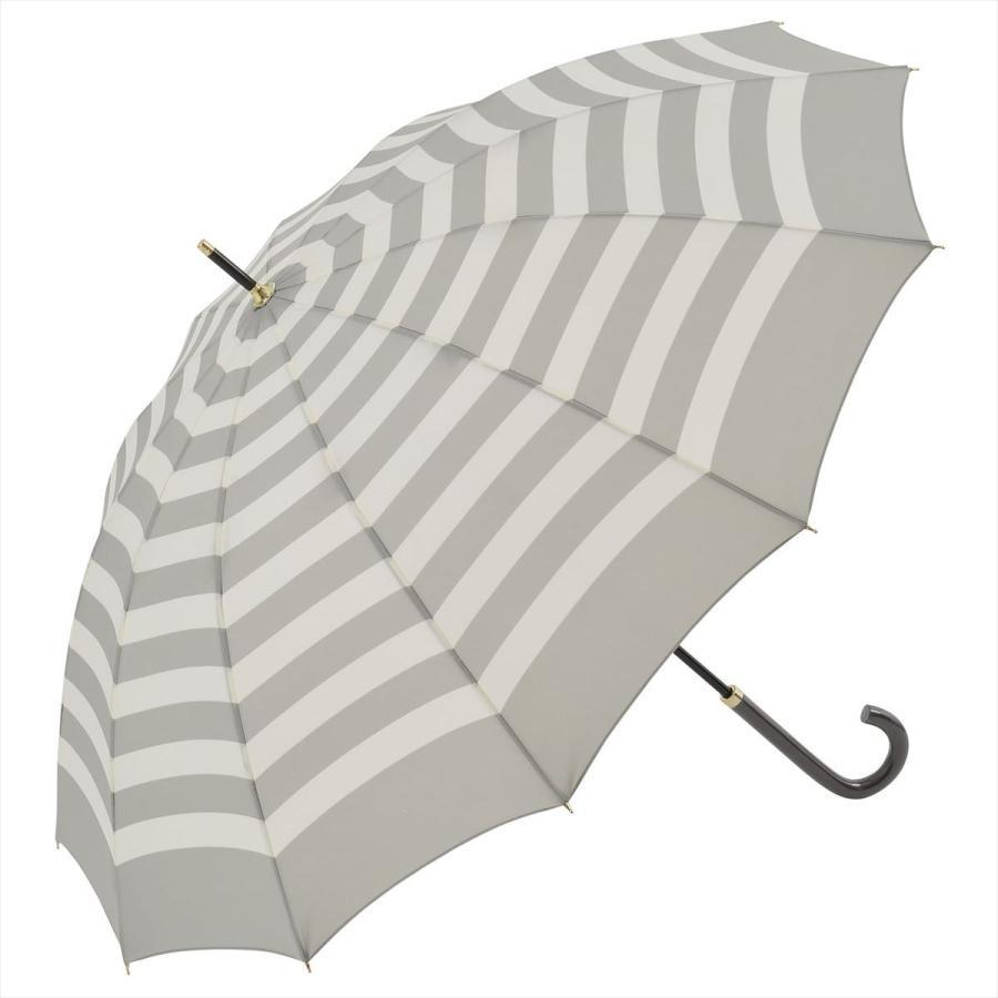 【公式】 レディース 婦人 雨傘 長傘 12本骨 マリンボーダー ネイビー グレー グリーン 1383 niftycolors ニフティカラーズ niftycolors 18