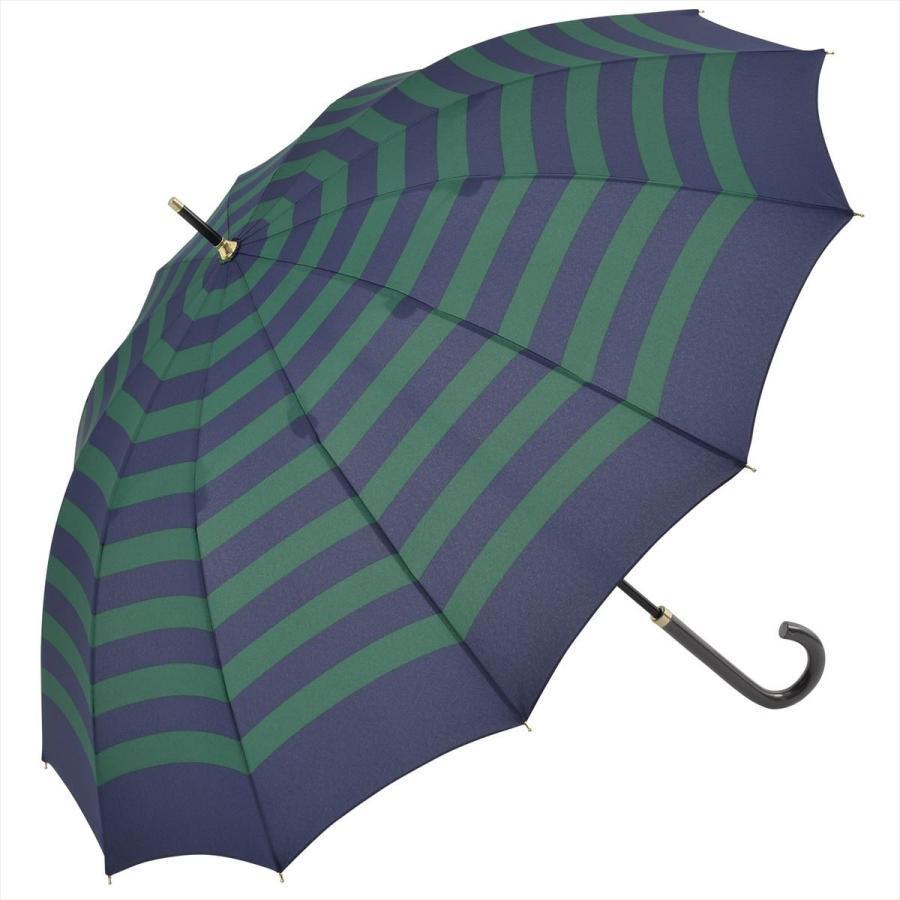 【公式】 レディース 婦人 雨傘 長傘 12本骨 マリンボーダー ネイビー グレー グリーン 1383 niftycolors ニフティカラーズ niftycolors 19