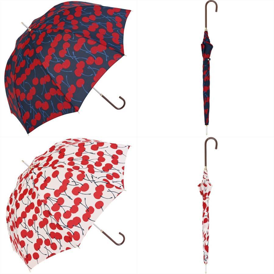 【公式】 ニフティカラーズ 傘  さくらんぼ チェリー 大柄 レディース 長傘 ドーム型 晴雨兼用 UV 防水 58cm 大きめ 紫外線防止|niftycolors