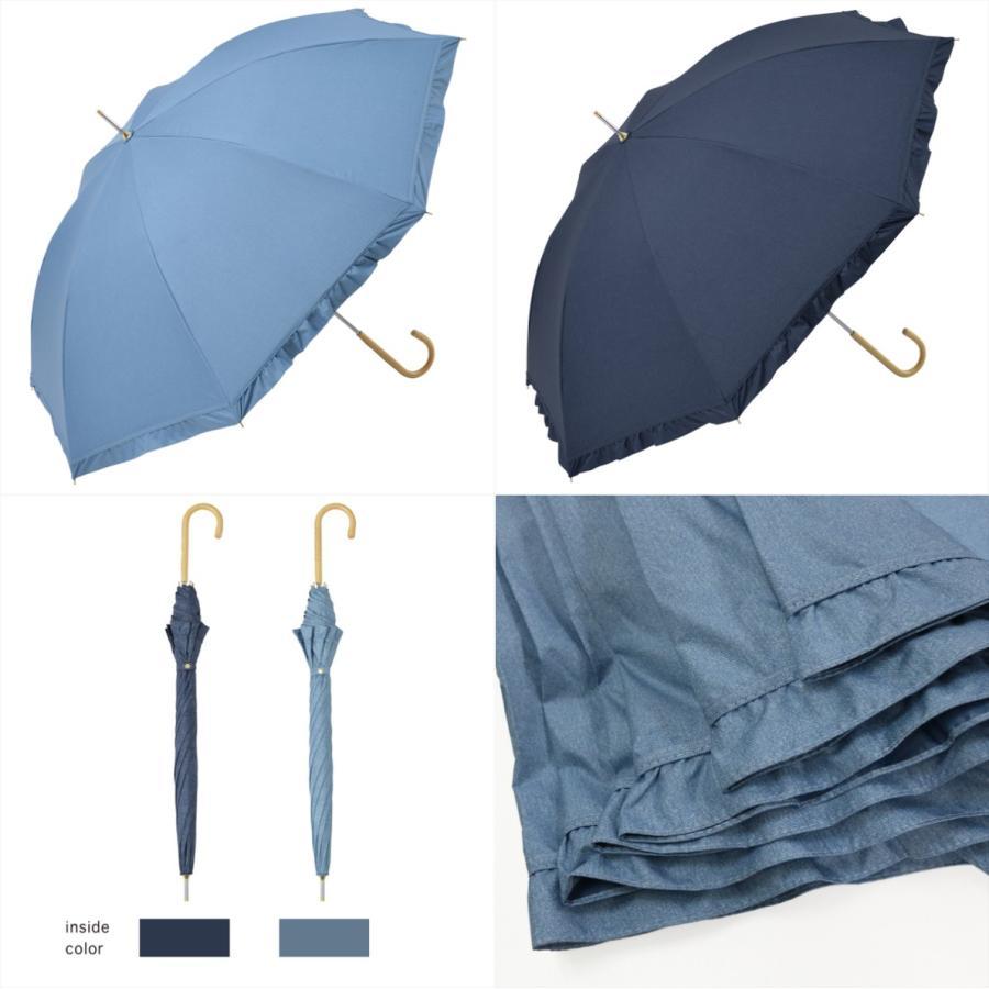 【公式】 晴雨兼用日傘 長傘 遮光 遮熱 UV加工 デニムプリント ネイビー ブルー niftycolors ニフティカラーズ|niftycolors