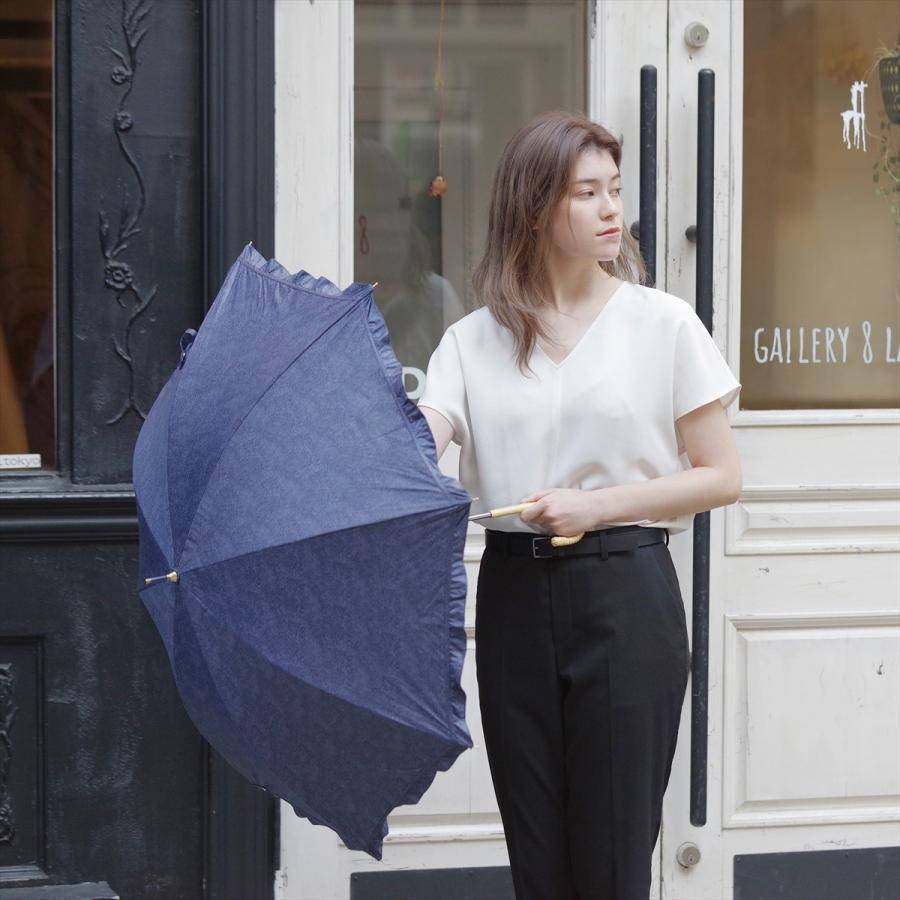 【公式】 晴雨兼用日傘 長傘 遮光 遮熱 UV加工 デニムプリント ネイビー ブルー niftycolors ニフティカラーズ|niftycolors|12