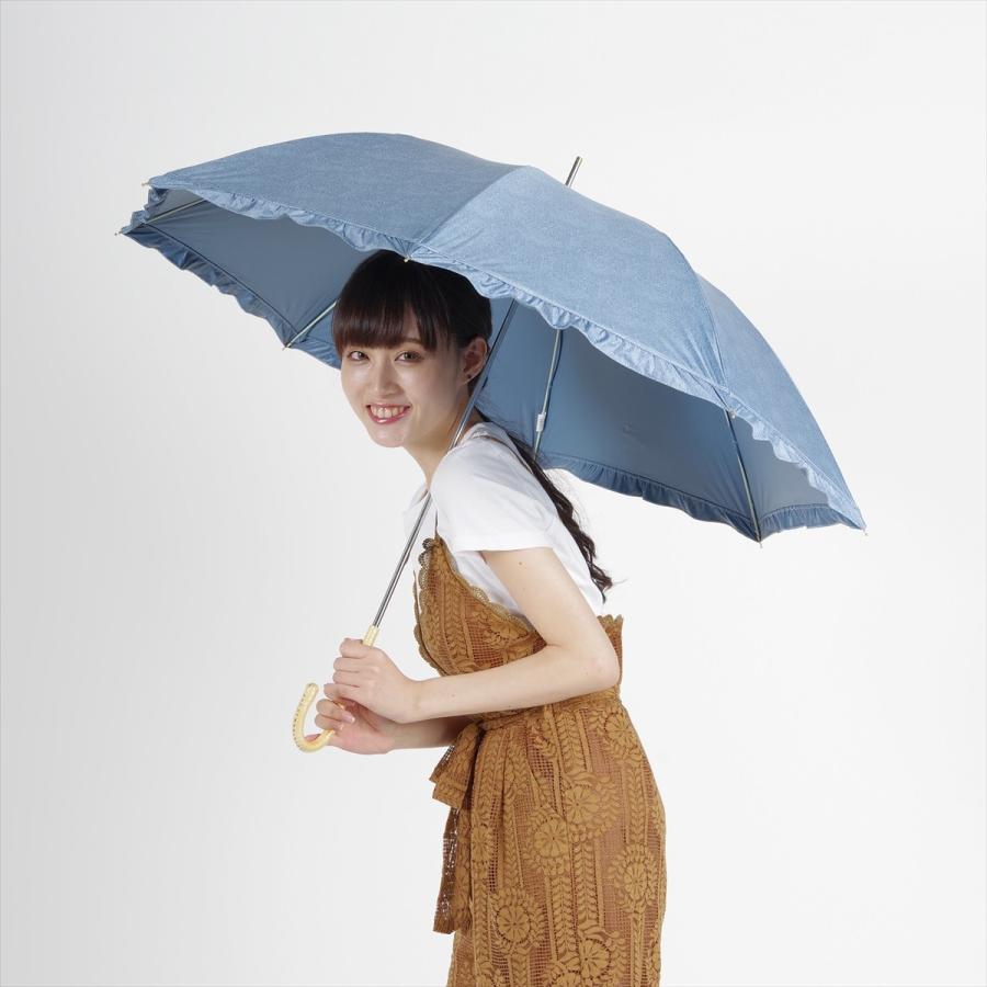 【公式】 晴雨兼用日傘 長傘 遮光 遮熱 UV加工 デニムプリント ネイビー ブルー niftycolors ニフティカラーズ|niftycolors|13
