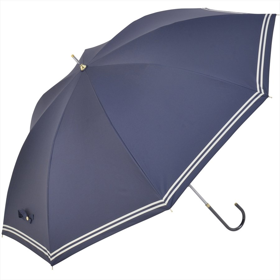 【公式】 日傘  遮光 セーラーボーダー  晴雨兼用  長傘 55cm 大きめ 遮熱 PU加工 99.9%カット ニフティカラーズ|niftycolors|02