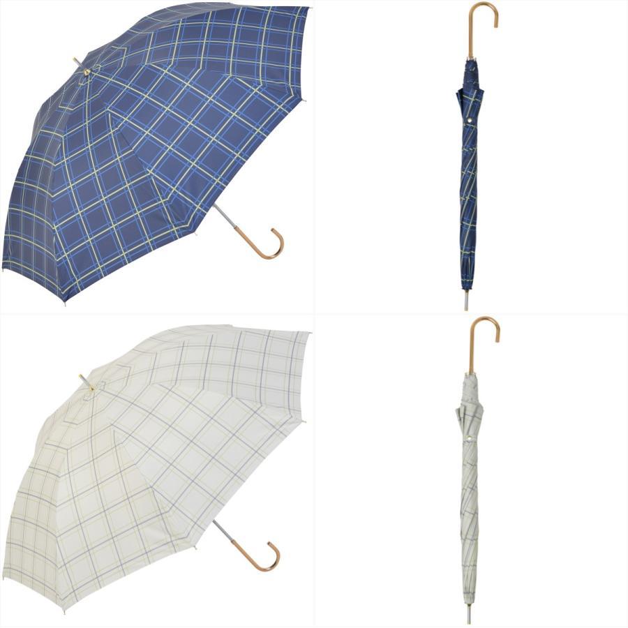 【公式】  日傘 遮光 チェック 晴雨兼用 レディース 長傘 55cm 大きめ 遮熱 PU加工 99.9%カット ニフティカラーズ|niftycolors