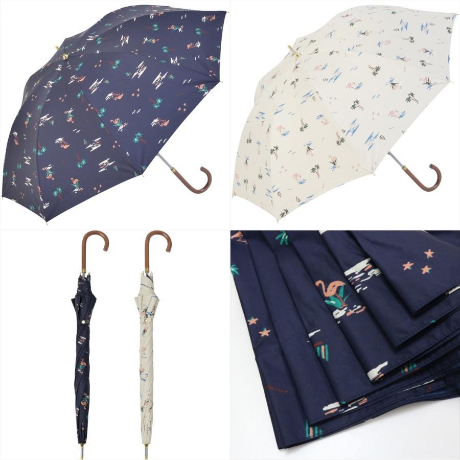 【公式】  日傘  遮光 フラミンゴ 南国 晴雨兼用 レディース 長傘 遮熱 PU加工 99.9%カット ニフティカラーズ|niftycolors