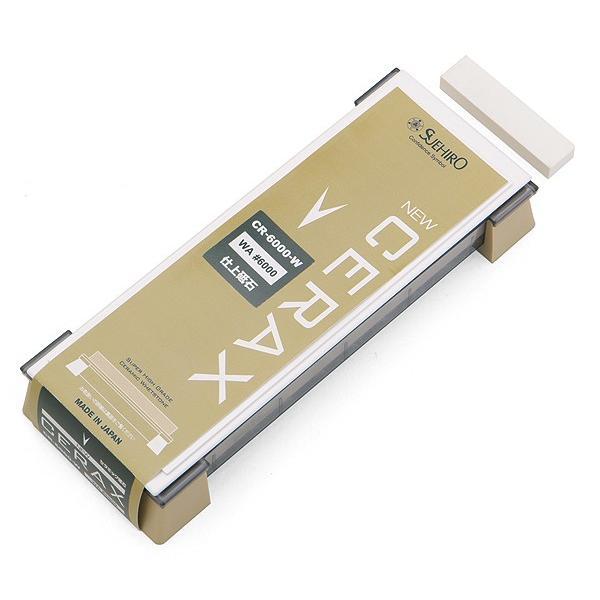 スエヒロ ハイグレードセラミック砥石 NEW CERAX CR-6000-W 1号型仕上砥石(ゴム足PC台)|niigata-honmono