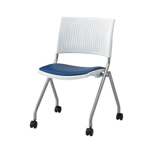 ジョインテックス 会議椅子(スタッキングチェア/ミーティングチェア) 肘なし 座面:合成皮革(合皮) キャスター付き キャスター付き FJC-K6L NV 〔完成品〕