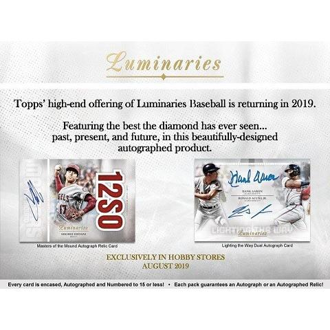 MLB 2019 TOPPS LUMINARIES BASEBALL (9月4日入荷)