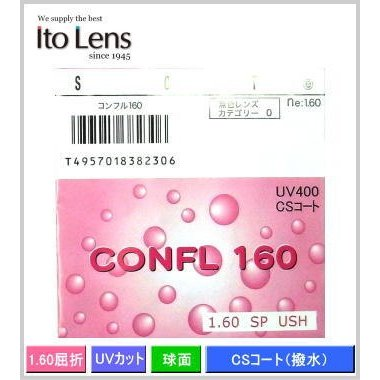 レンズ交換 イトーの薄型レンズ CONFL コンフル160 屈折率 単焦点球面設計メガネレンズ 人気の定番 2枚1組 マーケット UVカット標準装備 ne1.60