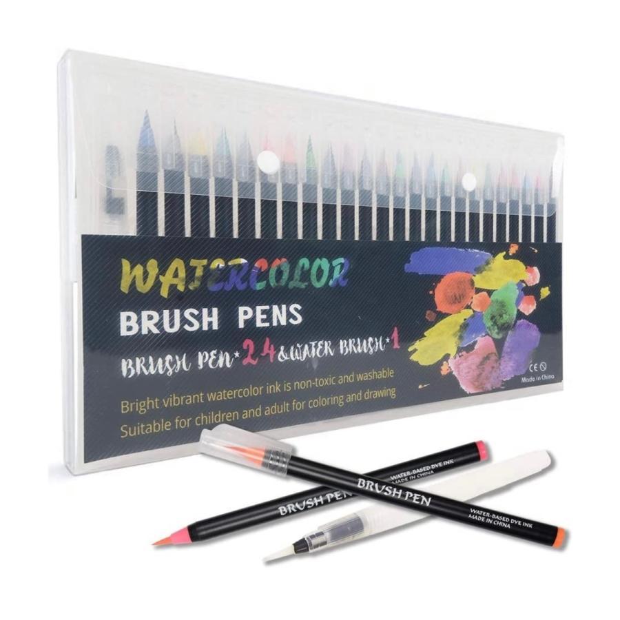 水彩毛筆 カラーペン 水性筆ペン 水彩ペン 24色セット 水性ペン1本 最新アイテム 美術用 収納ケース付き 塗り絵子供用画材 トレンド 絵描き カラー筆ペン
