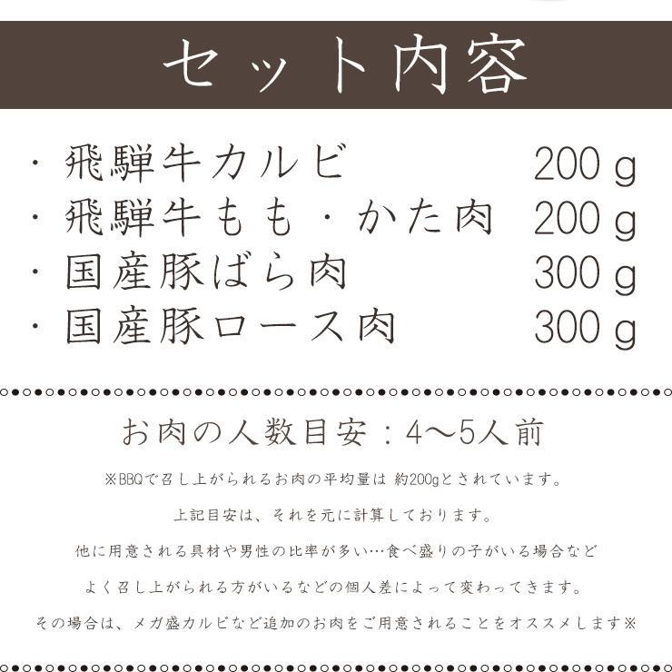 焼肉 肉 牛肉 福袋 バーベキューセット 飛騨牛 国産豚肉 1kg 約4〜5人 送料無 国産 和牛 バーベキュー BBQ お取り寄せ グルメ|nikunohiguchi-yafuu|09