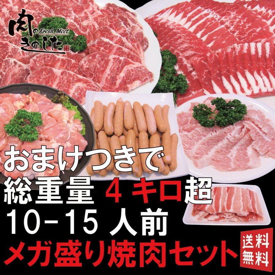メガ盛り焼肉セット 激安超特価 SALE開催中 10~15人前 今なら豚バラ300gおまけ A