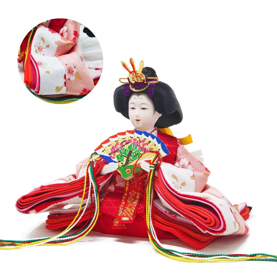 雛人形 ひな人形 紫檀調丸型ケース コンパクト 雛 ケース飾り 親王飾り 【2021年度新作】|ningyohonpo|06