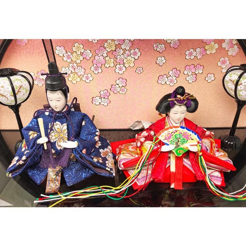 雛人形 ひな人形 五人紫檀調丸型ケース コンパクト 雛 ケース飾り 親王飾り|ningyohonpo|05
