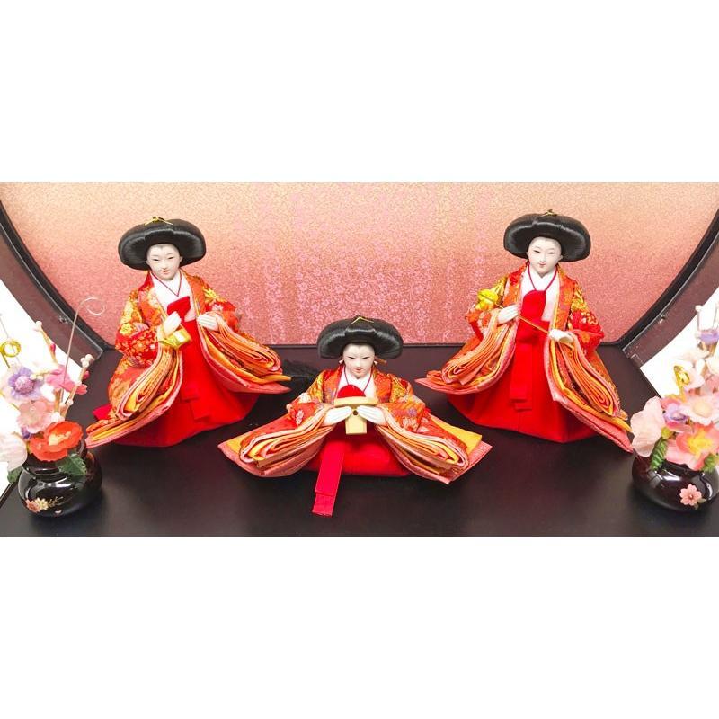 雛人形 ひな人形 五人紫檀調丸型ケース コンパクト 雛 ケース飾り 親王飾り|ningyohonpo|06