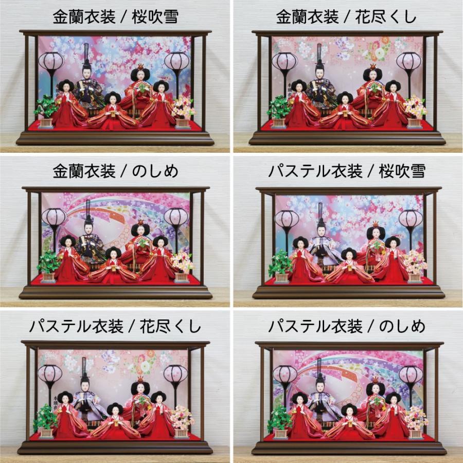雛人形 ひな人形 おしゃれ かわいい おひなさま お雛様 コンパクトピンク五人ケース飾り 2021 ningyohonpo 13