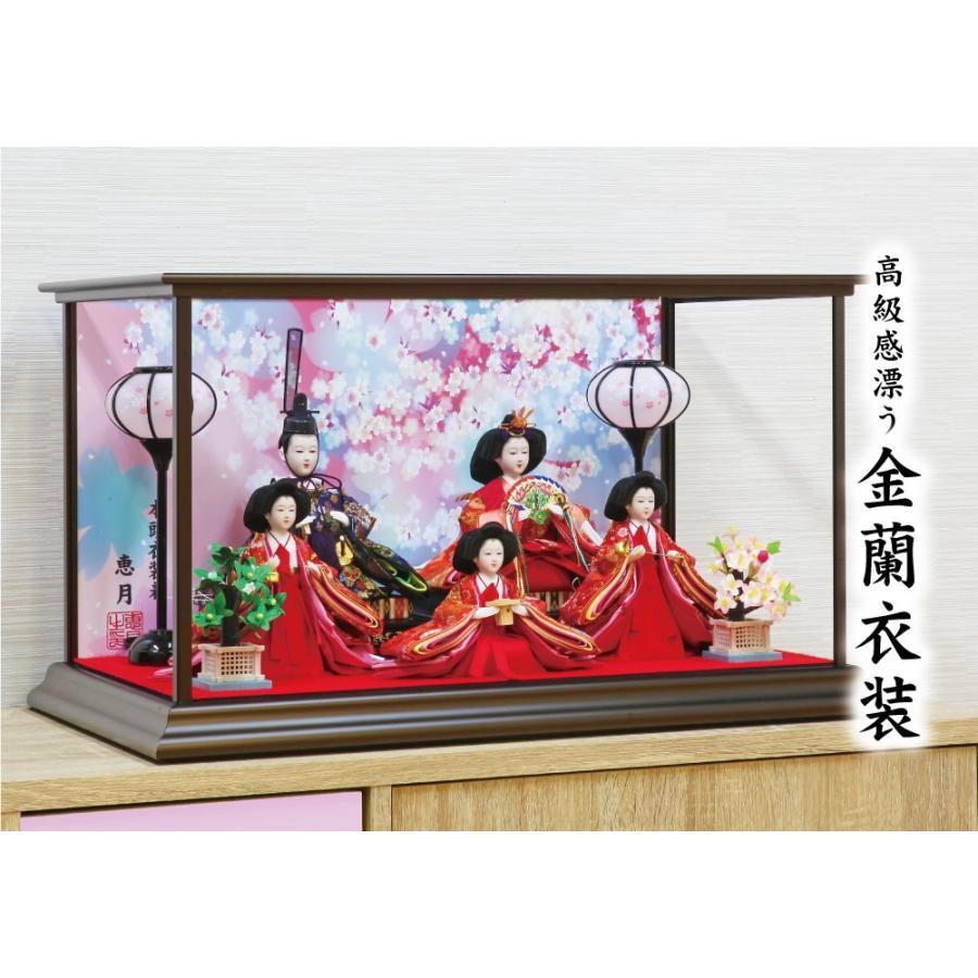 雛人形 ひな人形 おしゃれ かわいい おひなさま お雛様 コンパクトピンク五人ケース飾り 2021 ningyohonpo 03