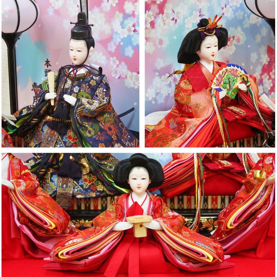 雛人形 ひな人形 おしゃれ かわいい おひなさま お雛様 コンパクトピンク五人ケース飾り 2021 ningyohonpo 04