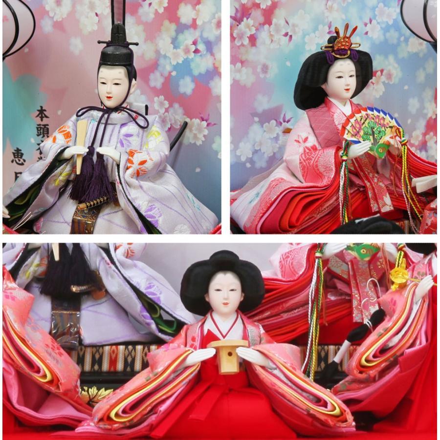 雛人形 ひな人形 おしゃれ かわいい おひなさま お雛様 コンパクトピンク五人ケース飾り 2021 ningyohonpo 06