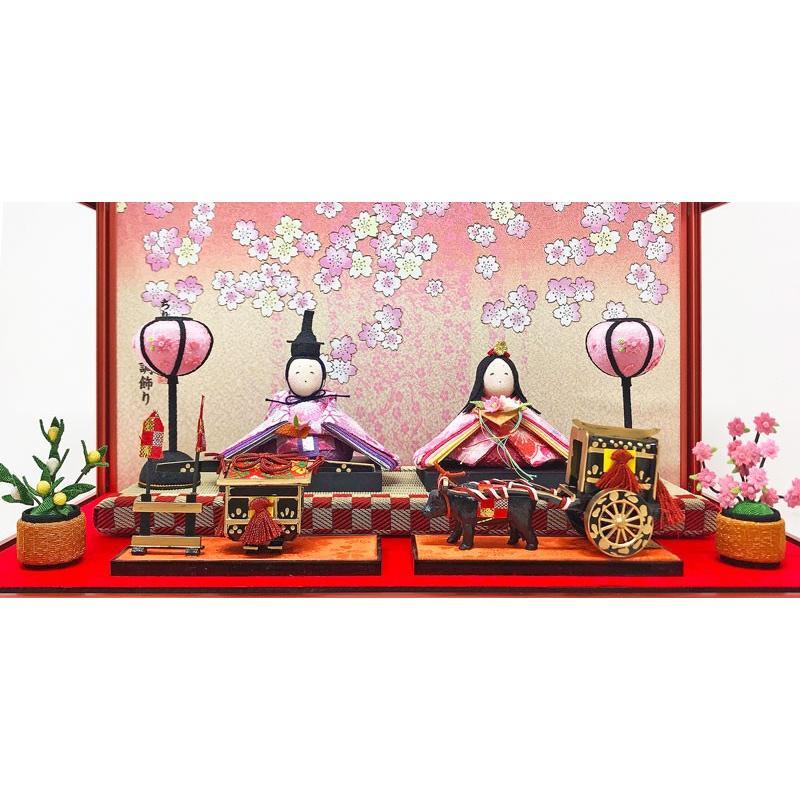 雛人形 ひな人形 コンパクト ちりめん ピンクゴールドケース飾り 親王飾り ningyohonpo 03
