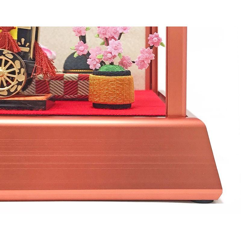 雛人形 ひな人形 コンパクト ちりめん ピンクゴールドケース飾り 親王飾り ningyohonpo 04