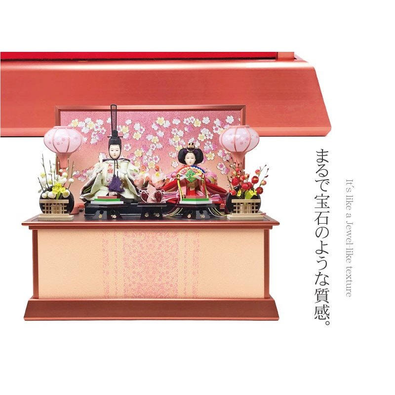 雛人形 ひな人形 ピンクゴールド収納 コンパクト 雛 収納飾り 親王飾り ningyohonpo 03