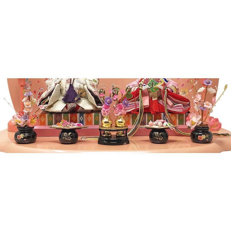 雛人形 ひな人形 ピンク平飾り コンパクト 雛 平飾り 親王飾り|ningyohonpo|09