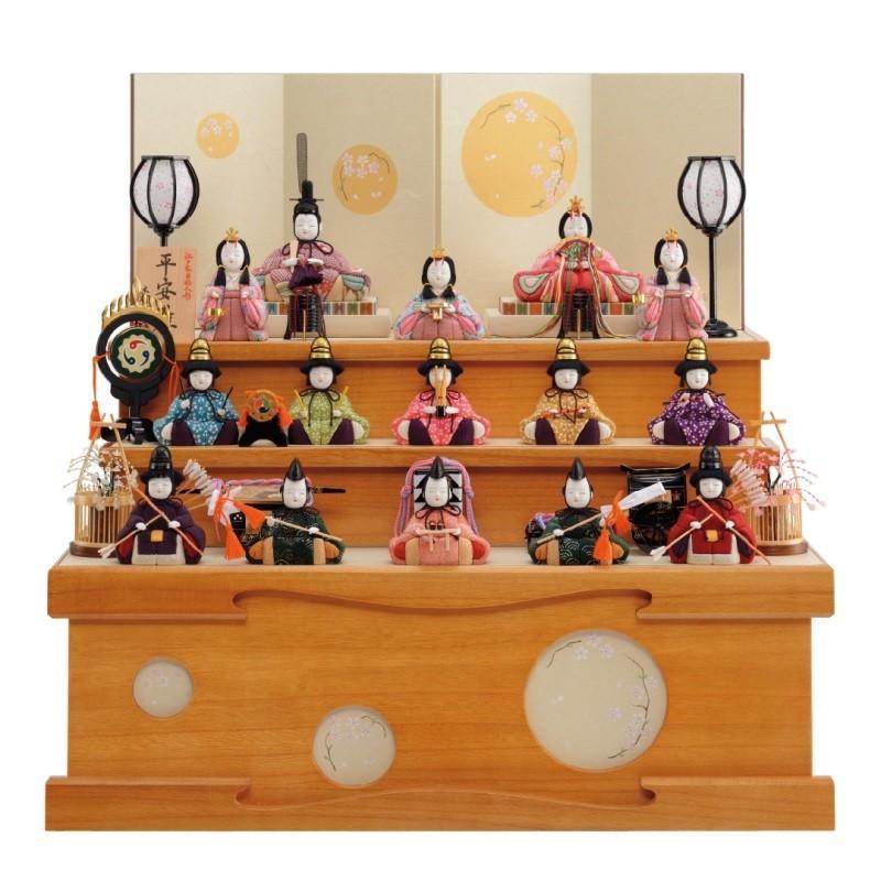 雛人形 一秀 江戸木目込み人形 十五人揃い 三段収納飾り 幅60cm [i-18-d13]
