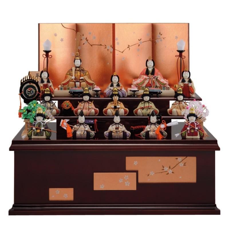 雛人形 一秀 江戸木目込み人形 十五人揃い 三段収納飾り 幅60cm [i-19-d19]